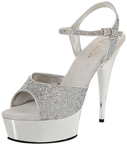 Pleaser Damen DELIGHT-609G Offene Sandalen Silber Multi GLTR/SLV Chrome, 39 EU - Sexy Ankle Strap Platform Sandal