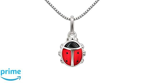 rouge argent sterling 925 Laimons Kids Collier avec pendentif pour enfant coccinelle noir
