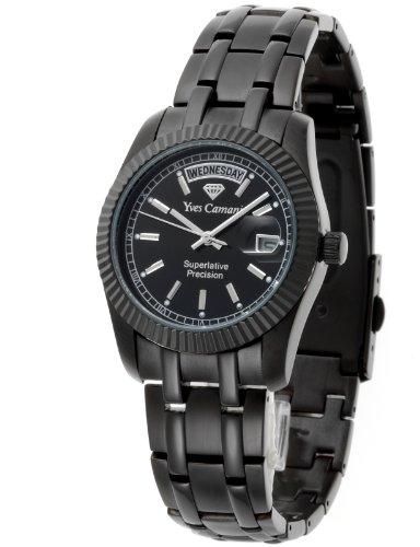 Yves Camani Yaards - Reloj de cuarzo para hombres, con correa de acero inoxidable de color negro, esfera negra