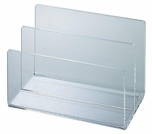 Preisvergleich Produktbild Acryl Briefständer 2 Fächer Briefsortierer, Schreibtischzubehör, Briefablage, glasklar