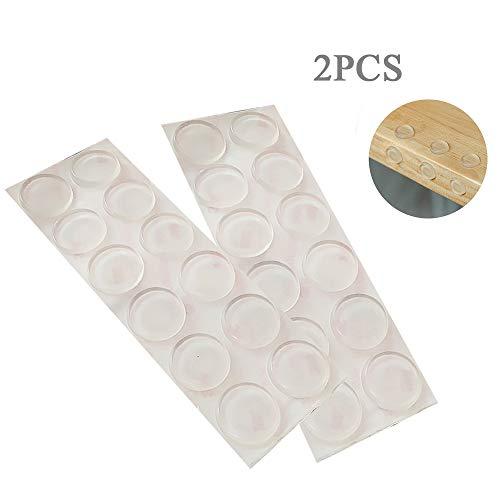 Ealicere 24 Stück Schutzpuffer, Ø 20 mm, Höhe 3 mm Anschlagpuffer, Möbelpuffer, Anschlagdämpfer, Elastikpuffer, flach, Anschlagpuffer transparent, selbstklebend