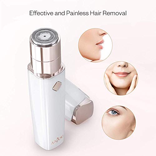 Depiladora Facial para Mujer Eléctrica Mini ANJOU,  Depiladora Vello Facial recargable Impermeable y Portátil con Tecnología Húmedo & Seco Sin Dolor para Labio/Barbilla/Mejilla/Faciala,  Blanco