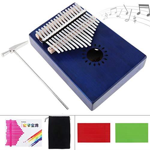 Zyj 17-Tasten Kalimba Blue Finger Klavier Furnier Mahagoni Thumb Piano Komplettes Zubehör Erwachsener Student Anfänger Gitarrist -