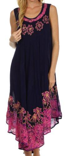 Sakkas 40SE Sundari Kaftan-Behälter-Kleid/Cover Up - Navy/Pink - One Size