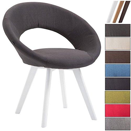 Clp sedia visitatore beck con schienale, sedia pranzo in tessuto, poltroncina imbottita, sedia con telaio in legno a 4 gambe, sedia moderna e di design, facile da pulire nero colore base: bianco