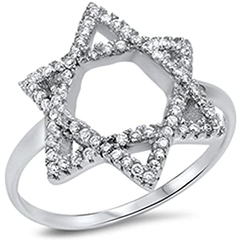 Sterling Silver Star di David Zirconia cubico Anello
