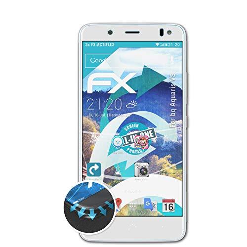 atFolix Schutzfolie passend für bq Aquaris VS Folie, ultraklare & Flexible FX Bildschirmschutzfolie (3X)