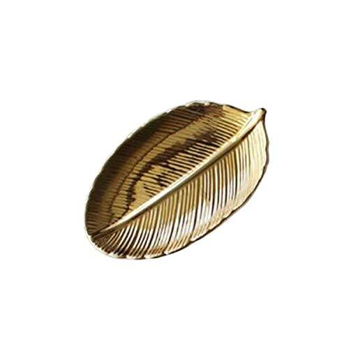 Gold Leaf Teller (TickTocking Home Decor Relief Teller Gold Blatt Tablett Ananas Schmuck Aufbewahrungsteller Obst Schalen Keramik Lebensmittel Teller Gold Leaf 19cm)