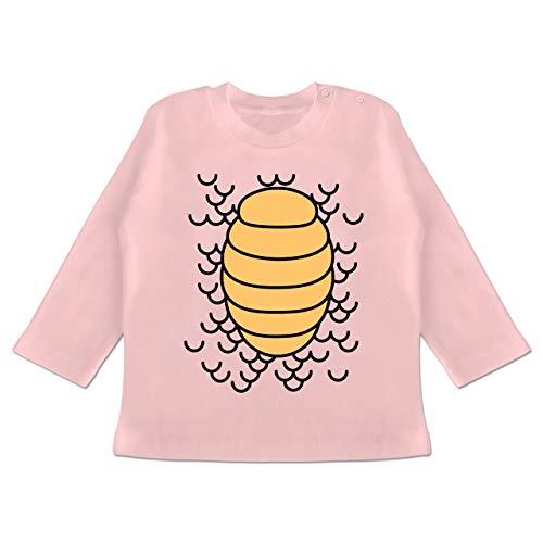 Karneval und Fasching Baby - Drachen Karneval Kostüm - 3-6 Monate - Babyrosa - BZ11 - Baby T-Shirt Langarm (Baby Drache Kostüm 3 6 Monate)