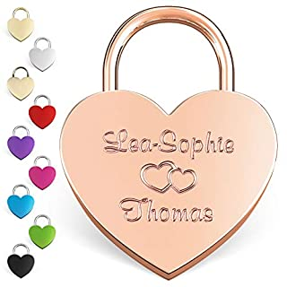 LIEBESSCHLOSS-FACTORY Engraved Heart Padlock Rosé-Gold, Free Gift-Box and Much More… Get Your Customized Love-Lock Now!