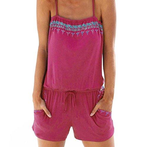 Jumpsuit Overall Einteiler Romper Hosenanzug Kurz Rückenfrei Ärmellos V Ausschnitt Stretch Locker (Pink,EU-34/CN-S) (Gothic Barbie Kostüm)