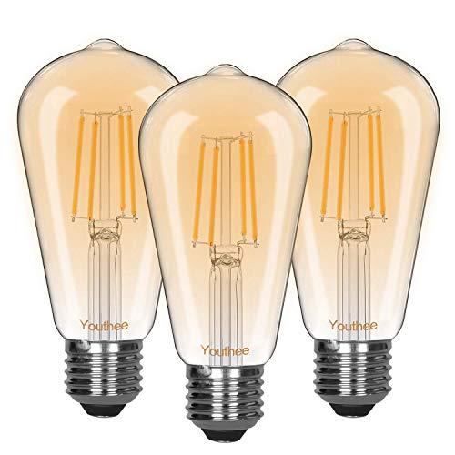 Youthee Edison Vintage Glühbirne,Edison LED Lampe E27 Retro Glühbirne Vintage Antike Glühbirne Ideal für Nostalgie und Retro Beleuchtung im Haus Café Bar usw - 3 Stück -