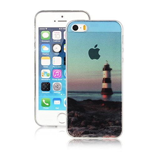 DBIT iPhone 7 Case, PU Pelle Flip Placcatura TPU Custodia Protezione Case Cover per Apple iPhone 7,Argento faro mare