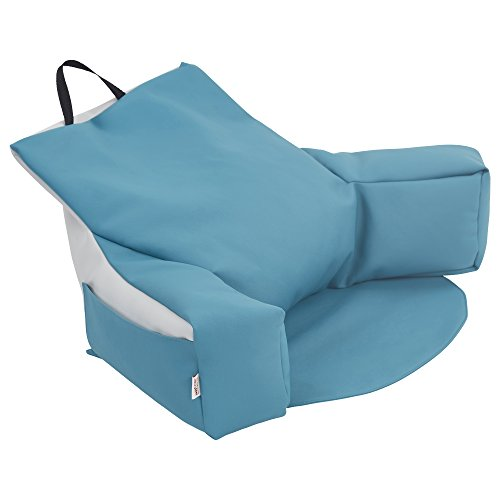 ECR4Kids ELR-12801-SFLG Relax-N-Read Bean Bag Back Support Pillow Chair with Storage Pockets, Sea Foam and Light Grey