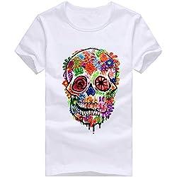 Gladdon Les Hommes Occasionnels d'impression de crâne T-Shirts Manches Courtes T-Shirt Chemisieret à Manches longuesfluide Bustier Tunique t Casual de Sweatshirt fantaisiez imprimé Floral