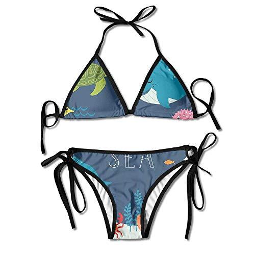 Zcfhike 3D Flower Print Algai's Reef Turtles Live in The Water Custom Sexy Beach Swimwear Women's Triangle Bralette Bikini Set of 2 Black -