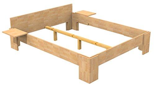Baßner Holzbau 18mm Echtholzbett Massivholzbett Buche 200×200 Fuß I 40cm Rahmenhöhe