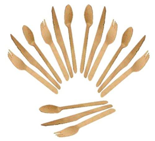Cubiertos de madera (60 uds) 20 Tenedores, 20 Cuchillos, 20 Cucharas