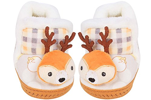 Ole Baby Multicolor Raindeer Face Plush Soft Organic 3d Ole Toons First Walking Shoes With Rubber Sole 0-6 Months