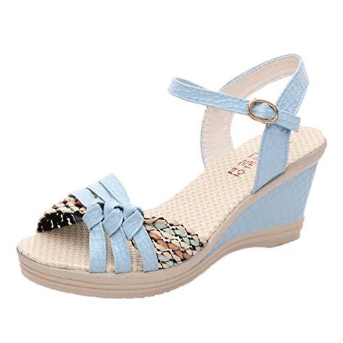 Btruely Damen Sandalen Sommer Mode Hochhackige Schuhe Damen Fesselriemen Schuhe High Heels Sandalen Ferse Schnalle High Heels Schuhe Mädchen Knöchel Schuhe Plattform Zehesandalen (40, Blau) Thong Heels Für Frauen