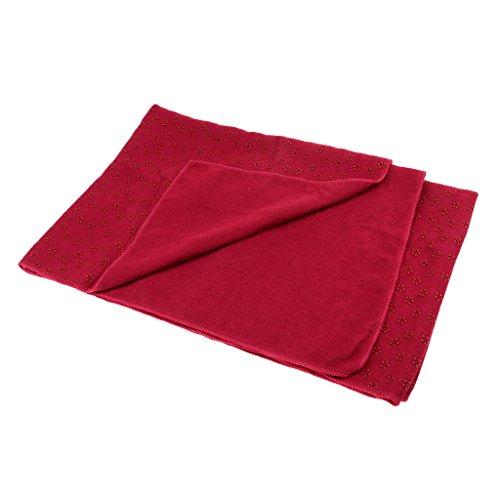 Toygogo Yogadecke rutschfest Yoga Handtuch Gymnastikmatte Schnelltrocknend Auflage mit Noppen 180 x 60 cm - Rot