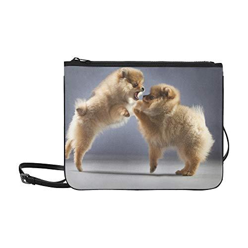 WYYWCY Zwei Pomeranians Fighting Custom High-Grade Nylon Slim Clutch Crossbody Bag Umhängetasche -
