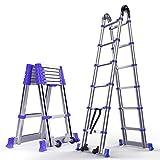 LY-Scala Scala telescopica di estensione Scala for uso domestico Scala diritta Pieghevole in alluminio Scala for ingegneria Portata 150 kg / 330 lb (Taglia : 1.95m/6.4ft)