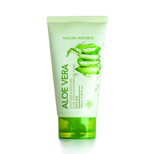 Moisturizing Cream Cleanser (Nature Republic Soothing and Moisture Aloe Vera Cleansing Gel Foam, 150 ml)