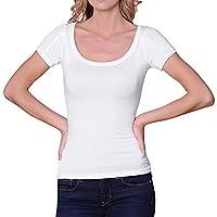Sweatproof Undershirt for Women, Scoop Neck, White, Sweat Pads (Small)