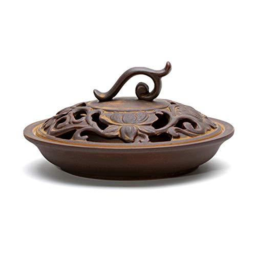 Quemador de incienso Incienso Quemador de cono de cerámica Hogar Dormitorio Decoración antigua Interior Creativo Japonés Moderno Quemador de incienso de mosquitos ( color : Brown , Tamaño : A )