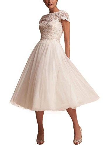 Beyonddress Damen Elegant Hochzeitskleider Brautkleider Teelänge Brautmode Spitze Applikation...
