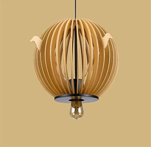 Lámpara colgante Lámpara de madera Jaula de pájaros Lámpara ...