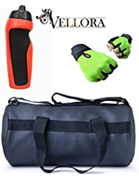 VELLORA Soft Leather Duffel Gym Bag (Black) With Penguin Sport Sipper, Gym Sipper Water Bottle Color Black Red... - B07F2JCZFK