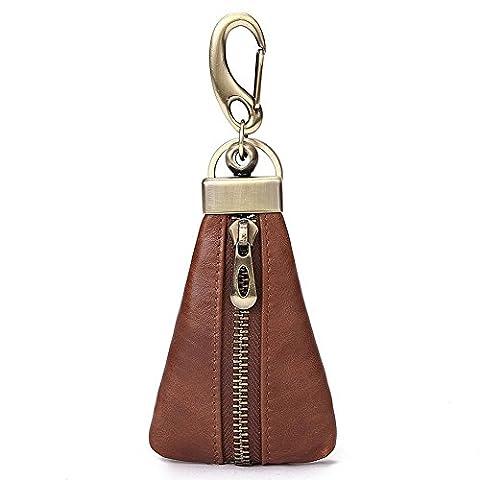HANSHI Unisex Auto Schlüssel Etui aus Leder mit Reißverschluss.Geldbörse.EDC Tasche.Münzen-Geldbeutel mit Edelstahl-Schlüsselring.Leder-Auto-Schlüssel-Tasche.YSB01