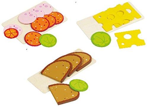 Goki Brot Wurst und Käse aus Holz für Kaufladen oder Spielküche