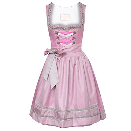 Krüger Collection Damen Trachten-Mode Midi Dirndl Dorena in Pink traditionell