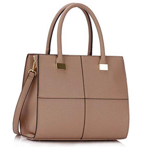 - 41THdCOHeWL - Womens Check Print Designer Faux Leather Celebrity Style Tote Handbag
