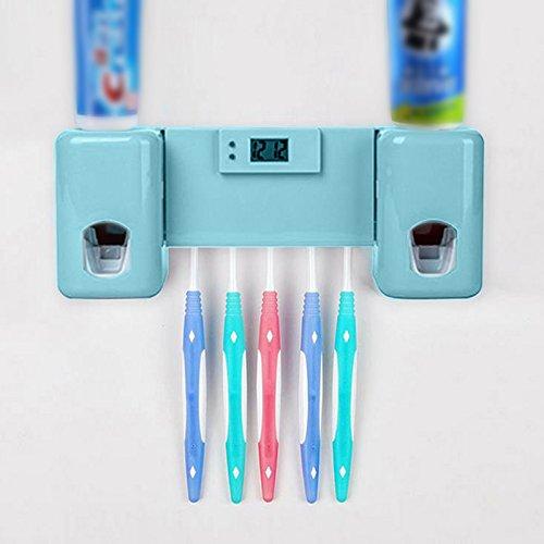 calistouk Badezimmer uesful Zubehör Doppel Automatische Zahnpasta Spender Halter mit Uhr blau