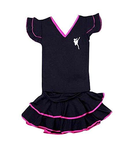 Un ensemble de petites filles de danse latine / Sport Top & Jupe noir et fuchsia