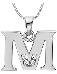 Onefeart Blanco Oro Plateado Colgante Collar Mujeres Chicas Blanco Cristal Alfabeto Inglés