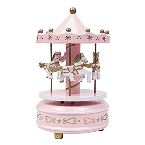 Wooden Carousel 4 Horse Merry-Go-Round Wind-Up Mechanical Music Box (Pink)