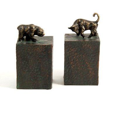 Bull Buchstützen (Bey-Berk R11S Buchstützen Bull & Bär, Metall gegossen mit Edelrost Braun)