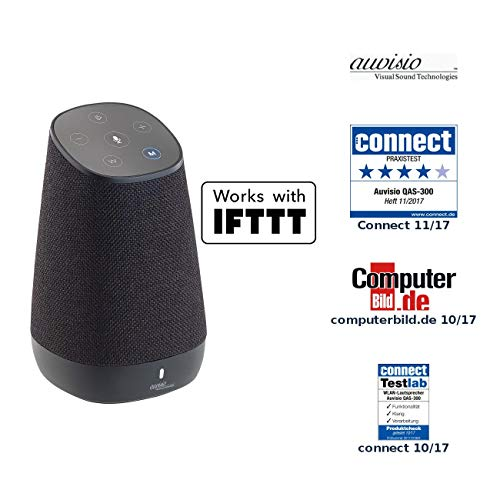 auvisio Lautsprecher, Bluetooth: WLAN-Multiroom-Lautsprecher mit Amazon Alexa und Akku, 30 Watt (Airplay Lautsprecher)
