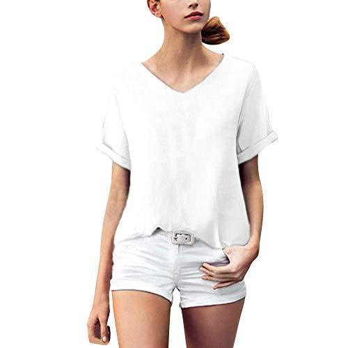 QingJiu Damen Mode Shirt Frauen Casual Baumwolle Leinen Kurzarm Hemd V Ausschnitt Female Bluse Crop Tops Oberteile (XXX-Large, Weiß)