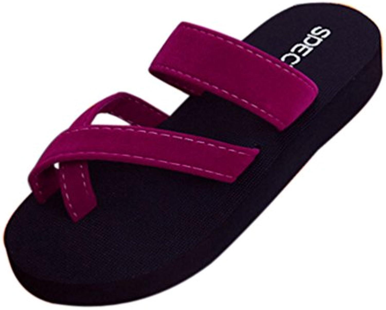 xhche  s summer tongs décontracté pantoufles chaussures ouvertes ouvertes ouvertes sandales plage plane coins sandales glisse sur la plate - forme. 39b19d