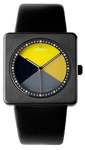 Noon copenhagen Design 18017 - Reloj unisex de cuarzo, correa de piel color negro de Noon