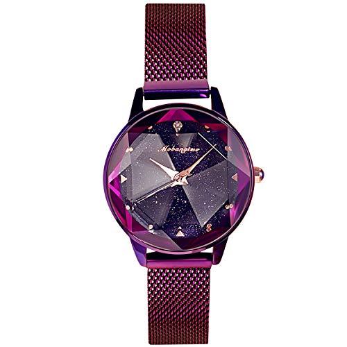 2d0d4215bb45 RORIOS Fashion Mujer Relojes de Pulsera Brillante Cielo Estrellado Dial  Magnética Band Relojes de Mujer Women