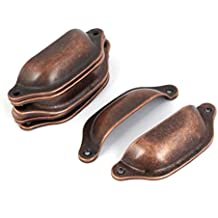 Sourcingmap–Carcasa® Gabinete cajón Perilla Muebles Forma tono de cobre de tirador 10piezas