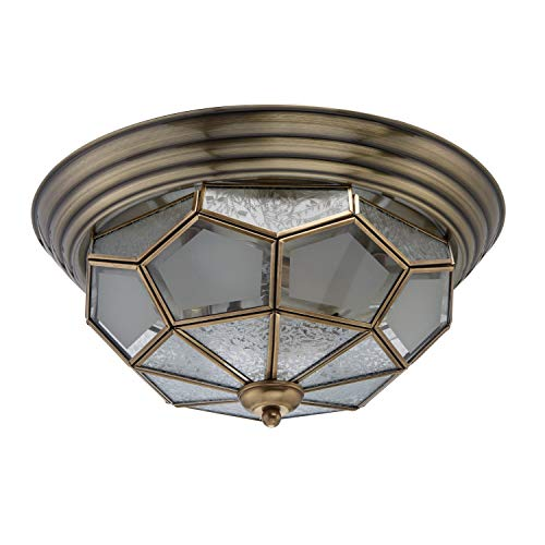 Deckenleuchte Messing mattes Glas Tiffany Landhausstil Ø38cm 3-flammig exkl. E14 3x40W 230V -