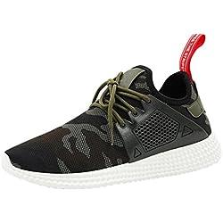 Zapatos de hombre Zapatillas de deporte para hombres Moda Correas Deportes Corriendo Camuflaje Casual Zapatos LMMVP (Verde, 42)